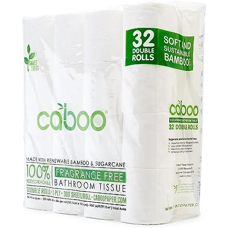 Caboo Papel Higiénico De Bambú Natural Séptico Seguro Biodegradable Papel Higiénico Ecológico Suave 2 Capas Hojas Cbt300 32 Blanco 1 1 Health Personal Care