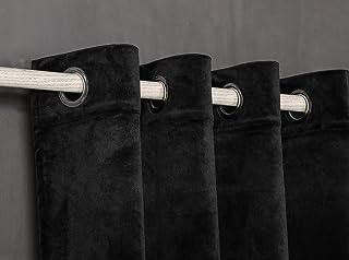 PimpamTex Cortina Terciopelo Opaca térmica Aislante para salón Dormitorio y habitación, con 8 Ojales, 1 Unidad 140 x 260 cm, Modelo Terciopelo Color Negro