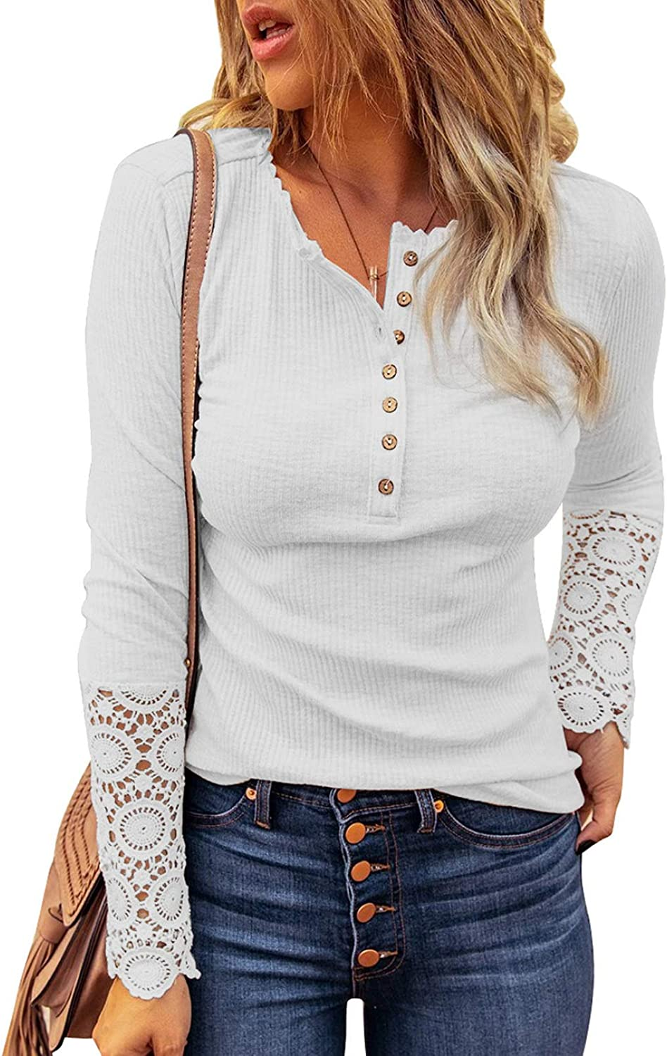 FARYSAYS Women's Lace Crochet Long Sleeve Down Max 61% Max 53% OFF OFF Rib Shirts Button