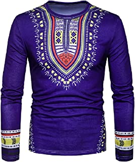 Mogogo Men's African Printed Crew-Neck Dashiki Fashion T-Shirt Tops