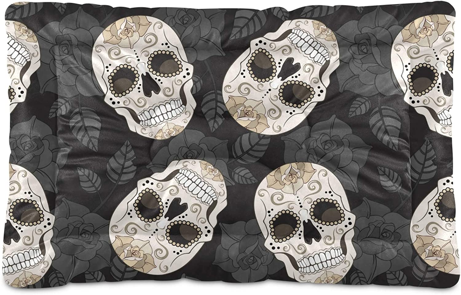 Dog Bed Year-end Credence gift Mat Skull Skeleton Washable for Mattress L Crate