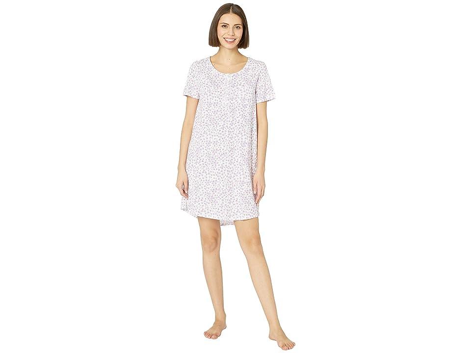 Carole Hochman Short Sleeve Key Item Sleepshirt (Lilac/Pink Ditsy) Women