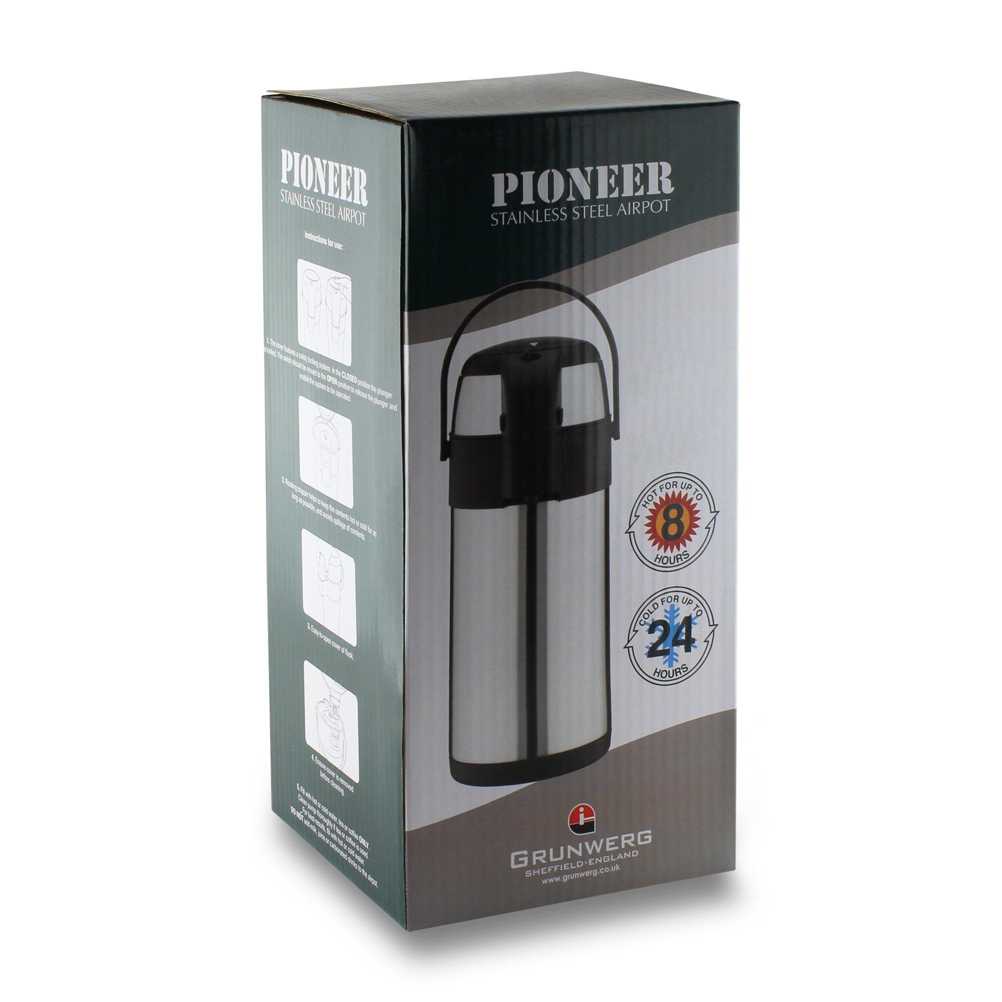 3 L Pioneer Termo de acero inoxidable con dispensador de t/é y caf/é Satin Finish acero inoxidable