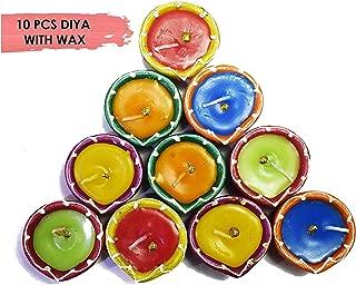 Craftsman Handmade Traditional Terracotta Clay Diya. Multicolor-10 pc Set. Diwali Deepawali Earthen Oil Lamp Wax Filled. Indian Gift Items Dia