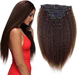 Yaki Hair Clip in Natural Hair Extensions for Black Women Virgin Remy Hair Kinky Curly Straight 12 Inch Dark Brown #2 10