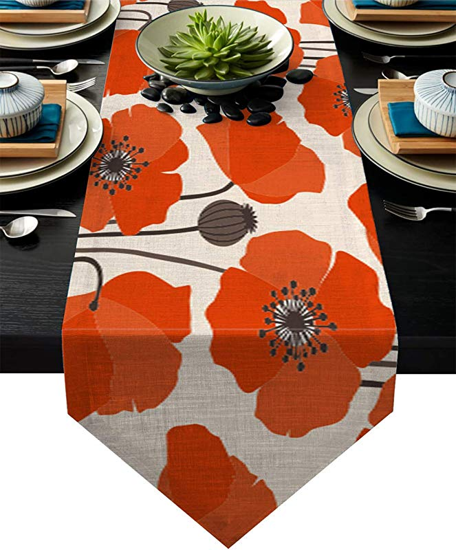 Table Runner Orange Poppy Flower Durable Washable Cotton Linen Table Top Cover Placemats For Kitchen Dinning Tea Table Use 13X90 Inch