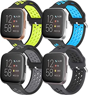 iHillon 4 Pack Compatible with Fitbit Versa Bands/Fitbit Versa 2 Bands for Men Women, Soft Silicone Sport Wristbands Compa...