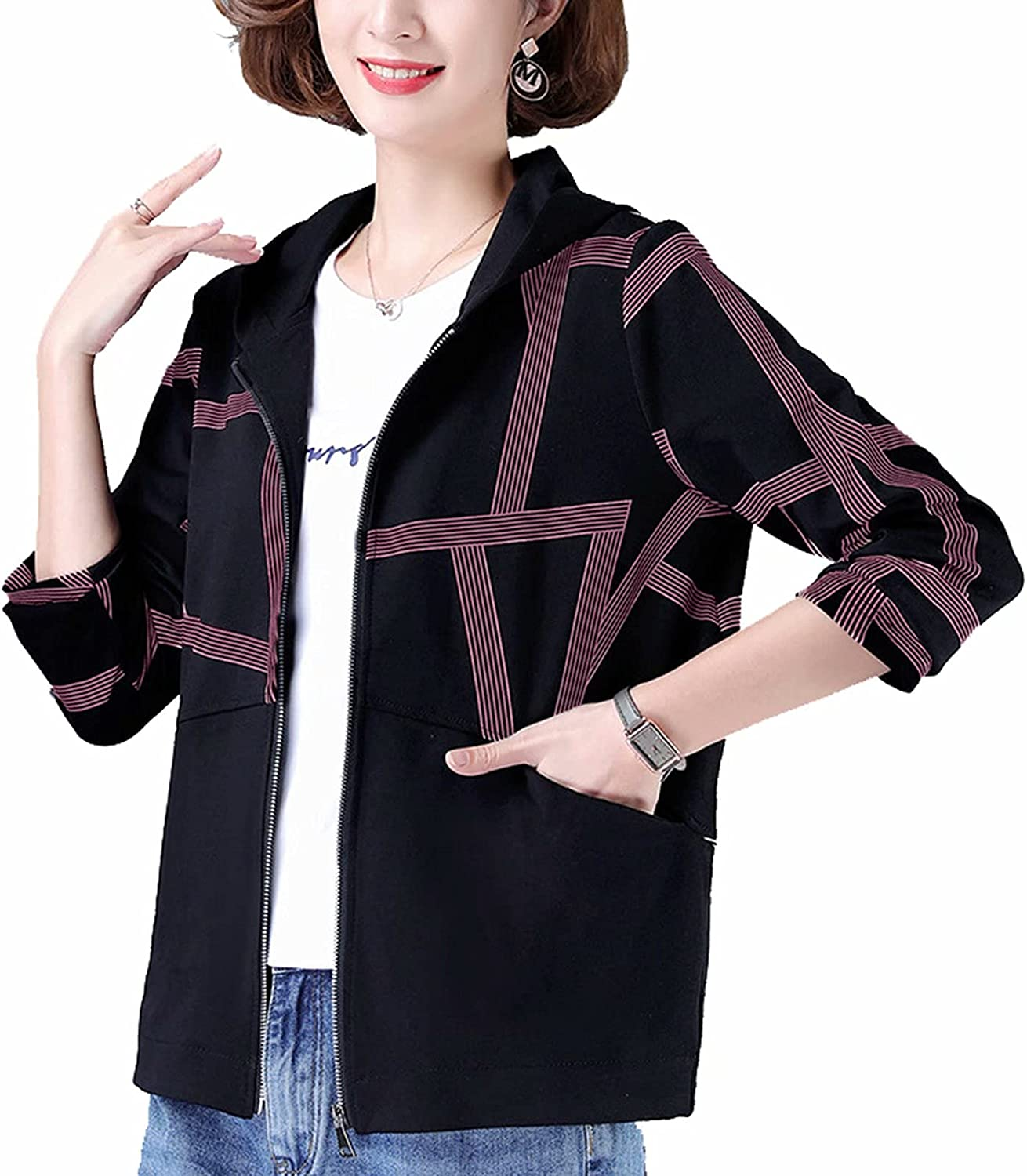Women's jackets - elegant long-sleeved slim fit transition jacket, casual women short coats with pockets and zip,