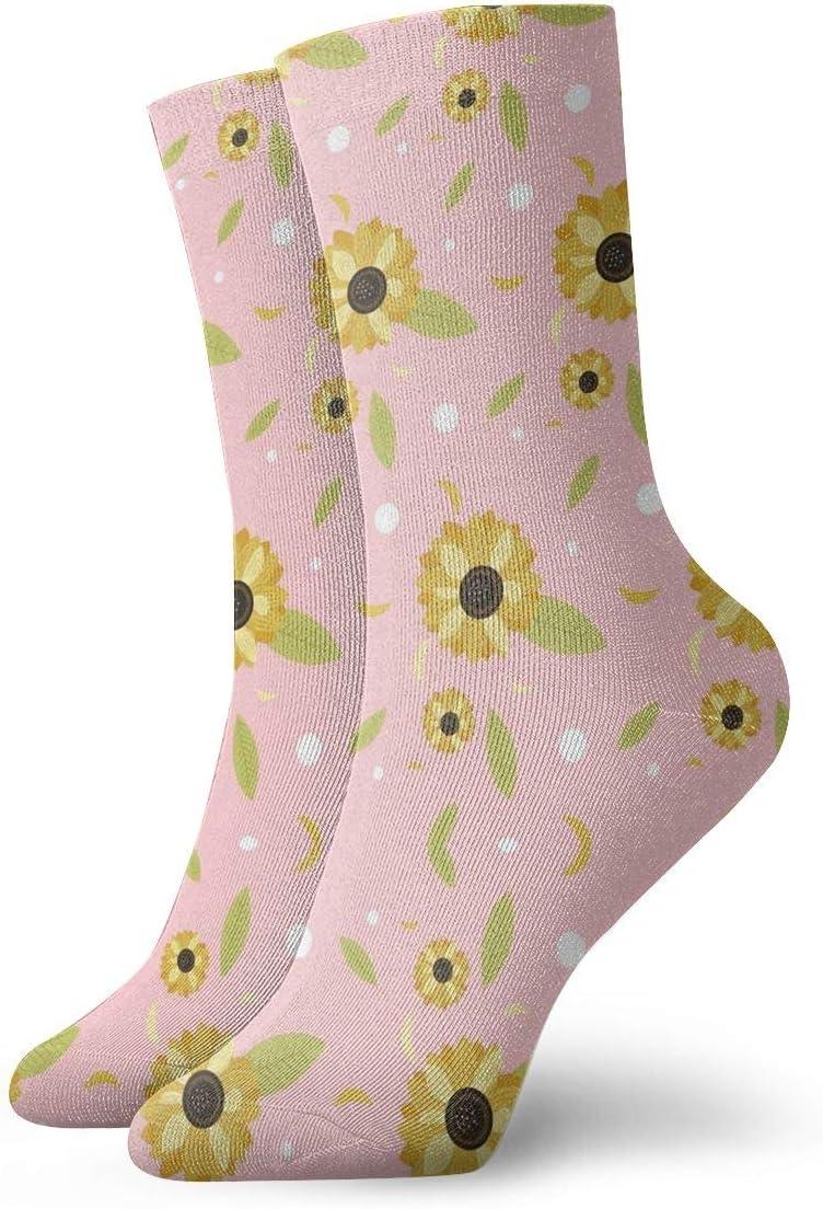 Unisex Casual Sunflower and Leaf Socks Moisture Wicking Athletic Crew Socks