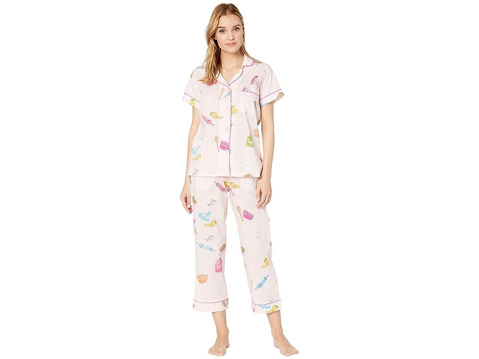 BedHead Pajamas Short Sleeve Cropped Pajama Set (Sugar and Spice) Women