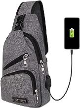 Randonn/ée V/élo Sling Bag Respirant Imperm/éable L/éger avec Port de Charge USB et Port /écouteur pour Homme Femme Sac /à Dos Sacoche Bandouli/ère USB /épaule pour Voyage Sport Leegoal Sac de Poitrine