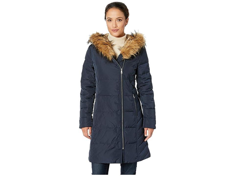 Cole Haan Taffeta Down Coat with Faux Fur Hood (Navy) Women's Coat