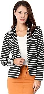 Allegra K Women's Notched Lapel Pocket Button Closure Striped Blazer