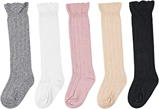 BQUBO Baby Knee High Sock Toddler Girl Dress Socks Baby Knit Stocking Cotton Infant Girls Socks