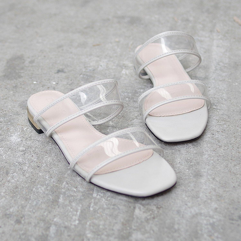 DHG Transparente Pantoffeln, Um Einfache Einfache Einfache Flache Sandalen Eines Wortes zu Tragen,Grau,35  5ca342
