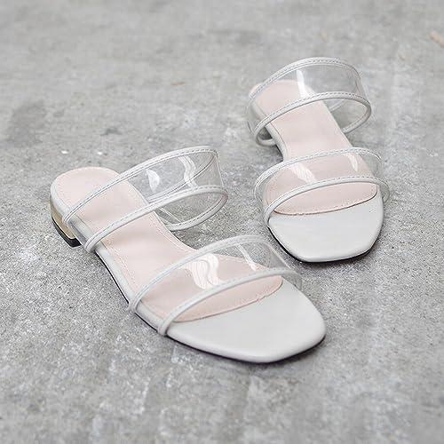 DIDIDD Pantoufles Transparentes pour Porter Un Mot Simple Sandales Plates Sauvages,gris,39