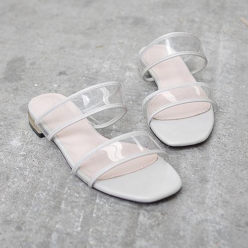 DHG Pantoufles Transparentes pour Porter Un Mot Simple Sandales Plates Sauvages,gris,36