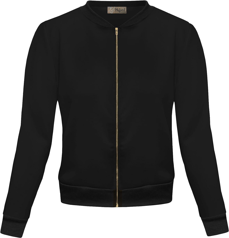 HyBrid & Company Womens Fashion Color Zip Up Bomber Jacket