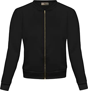 Womens Fashion Color Zip Up Bomber Jacket