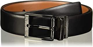 Perry Ellis Portfolio Men's Feather Edge Etched Buckle Soft Touch Reversible Belt