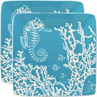 Ebros Nautical Coastal Ocean Sea Marine Seahorse By Corals Abstract Art Soothing Blue Salad Or Appetizer Or Dessert Plate Set of 2 Square 8.5