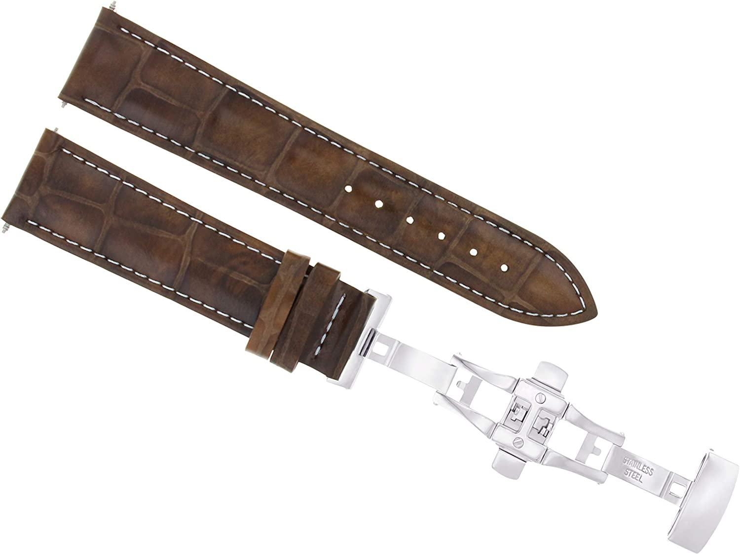 Beauty products 19mm Leather Watch Strap Band with Baltimore Mall Deployment Clasp T Compatible