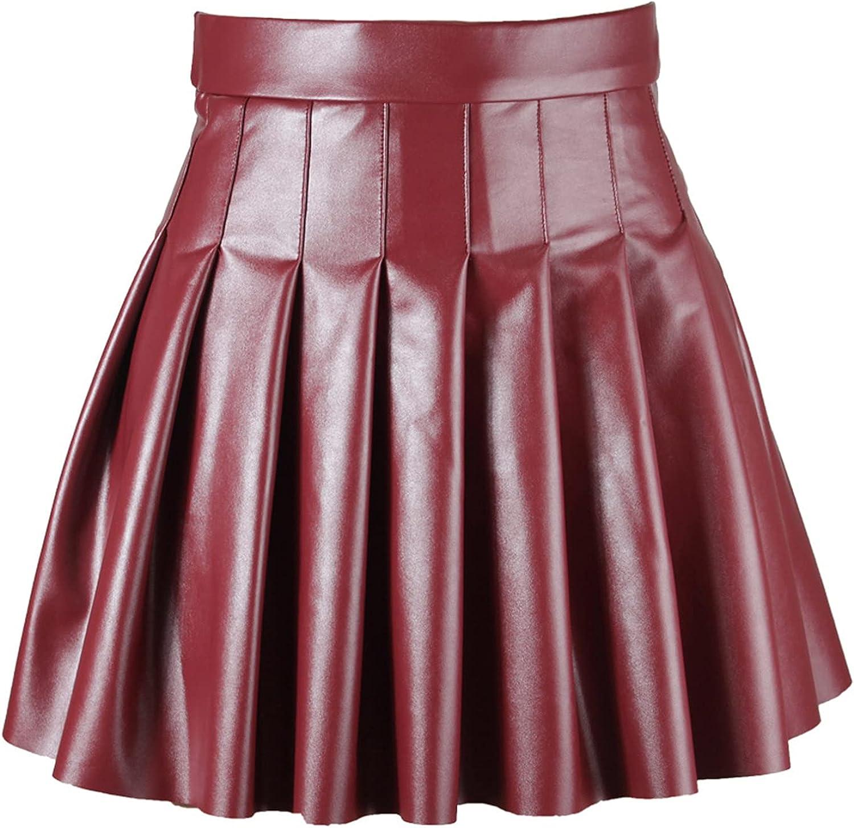 iiniim Women's Shiny Metallic Skater Skirt High Waist Side Zipper Flare Pleated Faux Leather Mini Skirt