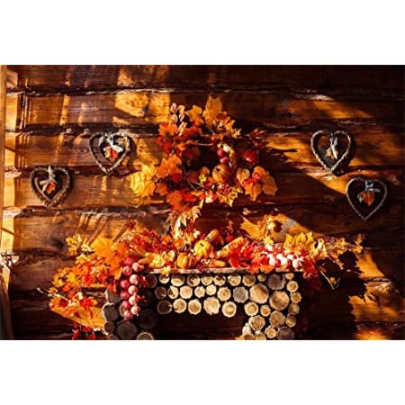 CdHBH 10x12ft Thanksgiving Wreath Leaves Pumpkin Fireplace Wood Wall Corn Cob Autumn Photo Portrait Clothing Photo Photography Background Cloth Studio Photo Photography Background