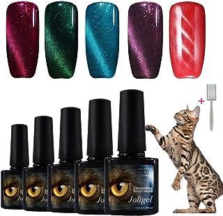 Joligel Elegir 5 Colores Esmaltes Gel 10ML Semipermanentes Magnéticos de Uñas Manicura UV LED Efecto Ojo de Gato Reconstru...