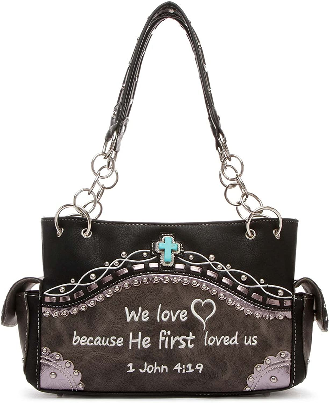 Western Handbag  Embroidered Bible Verse John 4 19 Top Handle Satchel Bag