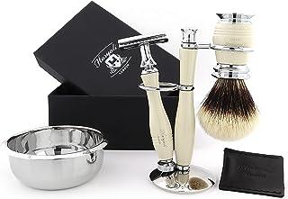 Zestaw golarek bezpieczeństwa dla mężczyzn – 5-częściowy zestaw do golenia, zawiera szczotkę do włosów z borsukiem, ze sto...