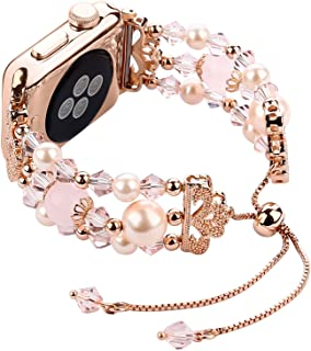 Tomazon Compatible Apple Watch Band 38mm 40mm, Crystal Pearl Adjustable iWatch Bracelet Replacement Women Wristbands Strap Compatible Apple Watch Series 4/3/2/1 Sport, Edition, Nike+ (Rose Gold)