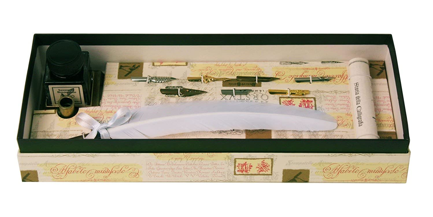 Coles Calligraphy Feather Quill Pen with 7 Nibs, Ink, Holder and Calligraphy Booklet - White