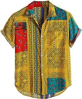 YSY-CY KLV camisa de manga corta con estampado de Estilo Hawaiano para hombre, camisa informal con cuello levantado de talla grande para vacaciones, ropa cómoda, Tops 9814 Suitable for outdoor travel