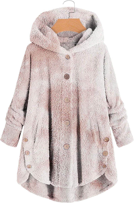 Sinifer Winter Coat Sweatshirt for Women L Button Tie-Dyed mart Plush Max 48% OFF