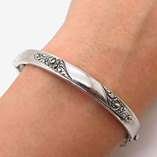 Silver-Tone Vintage Whiting and Davis Co. Swirl Design Bangle Bracelet 6 3/4 Pre-Owned Sterling Charm by Wholesale Charms
