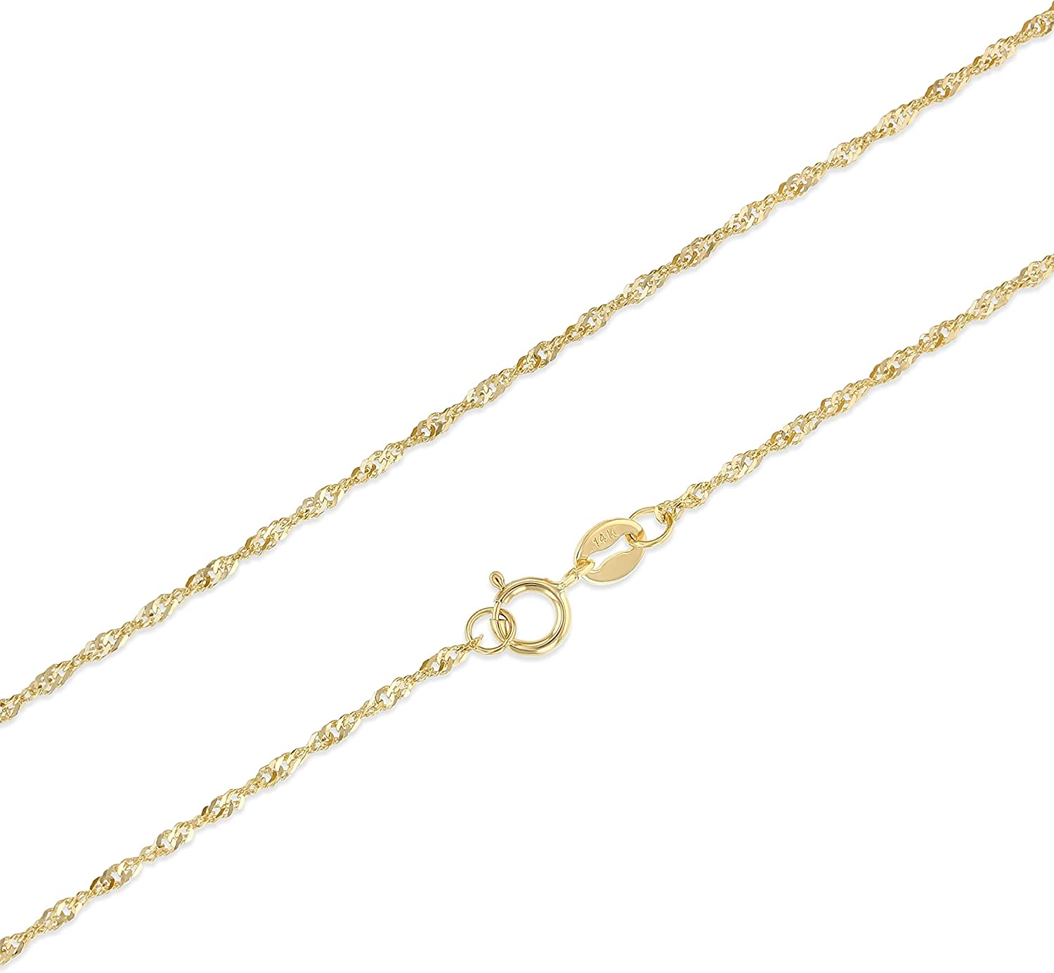Ioka - 14K Yellow, White OR TriColor Solid Gold 1.2mm Singapore Chain Necklace with Spring Ring Clasp