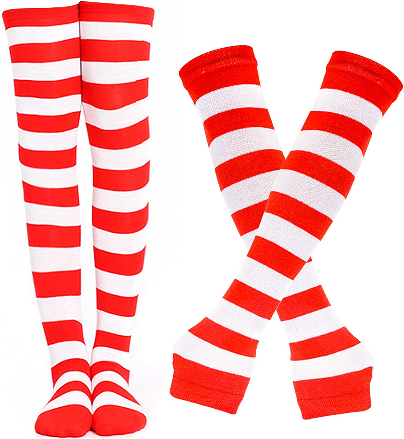 BigOtters Red and White Striped Socks, 2PCS Christmas Red and White Clothes Including Striped Knee High Socks Long Arm Warmer Gloves for Adults and Teens Christmas Halloween Party Costume