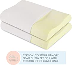 "The White Willow Pillow Set of 2 Cervical Orthopedic Memory Foam Queen Size Contour Neck Support Sleeping Bed Pillow (23"" L x 14"" W x 4"" H) -Off White"