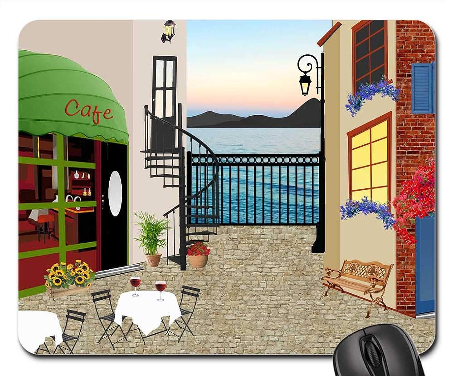 Mouse Pad - Restaurant House Terrace Table Tablecloth Ocean