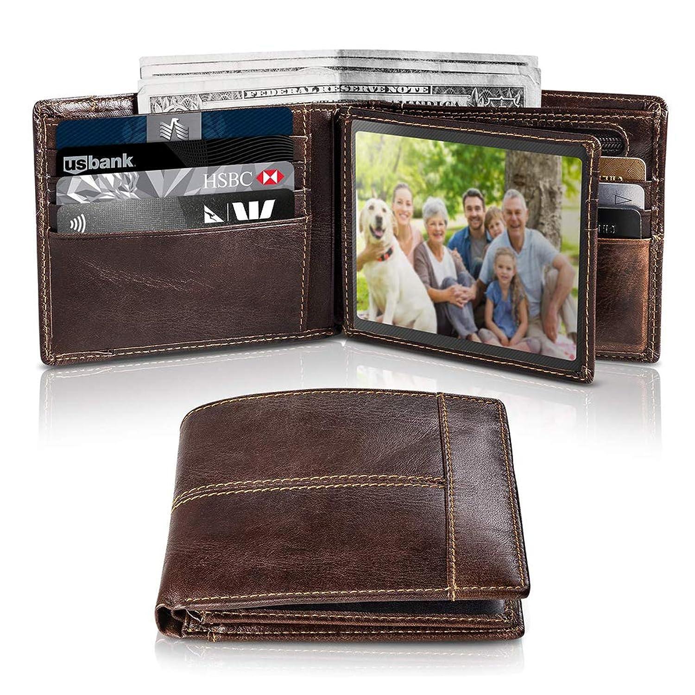 男性用スリム財布Rfidブロッキング、男性用本革二つ折り財布、IDウィンドウ16カードホルダーギフトボックス父の日のためのジップポケット誕生日プレゼント, brown