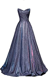 Women's Strapless Long Satin Prom Dress Glitter Ball Gown Bate05