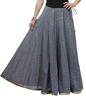 NIKA Women's Cotton Kalidaar Hand Block Printed Long Skirt by Kaanchie Nanggia (KNA-2043_Grey_Freesize)
