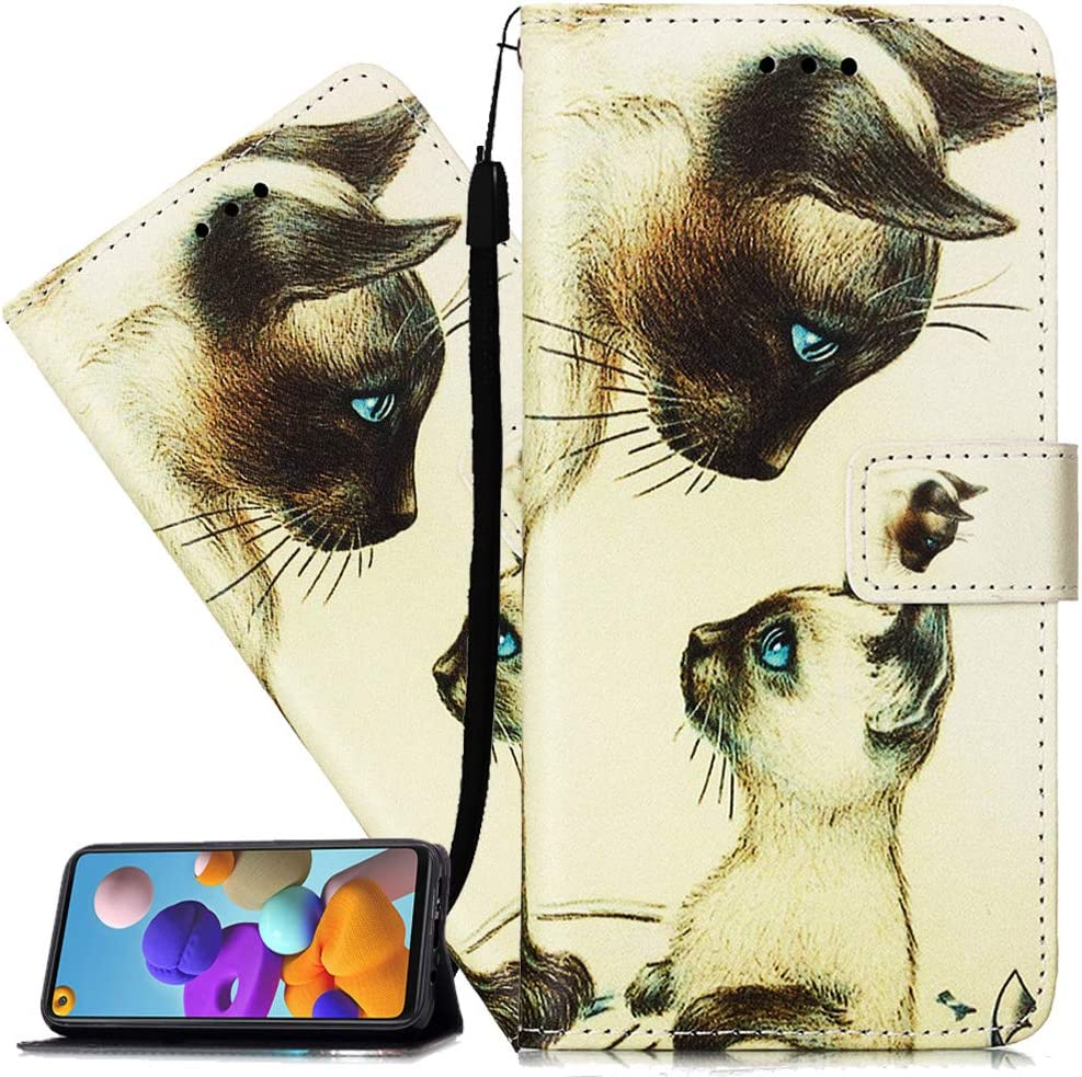 ISADENSER for Galaxy S20 Fan Edition 5G Case Galaxy S20 FE Case [Wallet Stand] Flip Folio PU Leather Case Card Holder Slots Pouch with Magnetic Close Case for Samsung Galaxy S20 FE 5G Love Cat YB