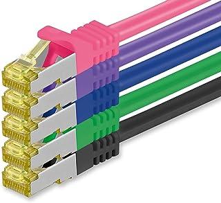 Cat.7 nätverkskabel 2m 5 färger 5 stycken Cat7 ethernetkabelnätverk LAN-kabel råkabel 10 Gb s SFTP PIMF LSZH set patchkabe...