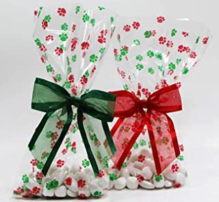 Christmas Dog Paw Print Holiday Cellophane Treat Party Favor Bags with Twist-Tie Organza Bow. Set of 10 Ready-to-Use, Gussetted 11x5x3 Goodie Bags with Red & Green Bows.