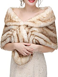 Decahome Faux Fur Shawl Wrap Stole Shrug Winter Bridal Wedding Cover Up