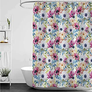 homecoco Shower Curtains Lavender Watercolor,Vintage Colorful Anemone and Forget Me Not Flowers Romantic Mimosa Peony Art,Multicolor W65 x L72,Shower Curtain for Shower stall