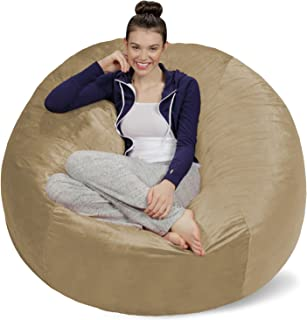 Sofa Sack - Plush Ultra Soft Bean Bags Chairs for Kids, Teens, Adults - Memory Foam Beanless Bag Chair with Microsuede Cover - Foam Filled Furniture for Dorm Room - Camel 5'