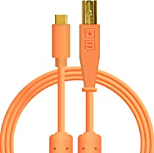 Chroma Cables: Audio Optimized USB-C to USB-B Cable with 56K Resistor (Neon Orange)